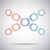 Communication of nine hexagonal cells. gradient