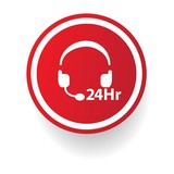 24 hours service button,vector