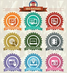 Seo Badges icons,Retro style,vector