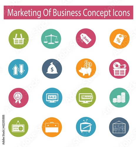 Marketing of business concept icons