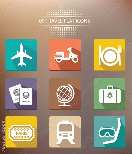 Travel shadow icons,vector
