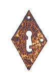 Rusty diamond shaped keyhole isolated