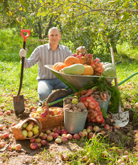 Happy man with  harvest