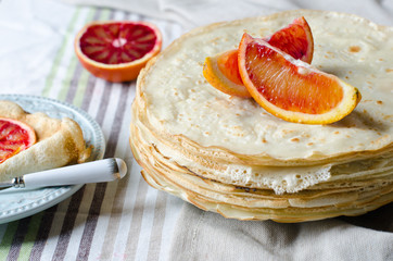 Pancakes with oranges