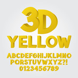 Abstract Yellow 3D Plastic Alphabet and Numbers, Eps 10 Vector