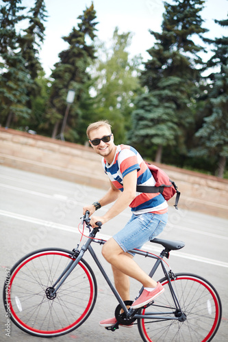 Handsome bicyclist