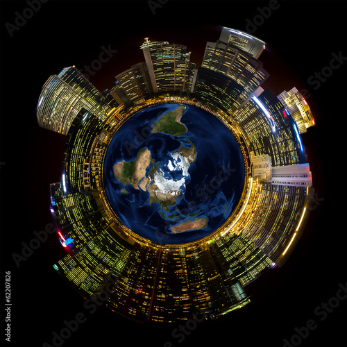 Bright City Lights on Miniature Planet Earth