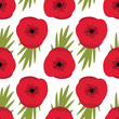 Remembrance Day, Seamless pattern with red poppies