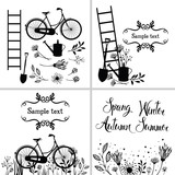 Set of design elements and cards with flowers, garden tools and