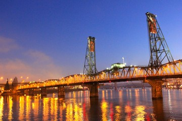 Bridge in Portland in twilight