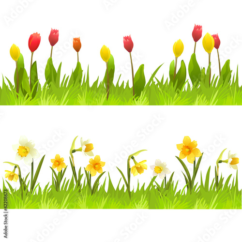 banners of spring flowers