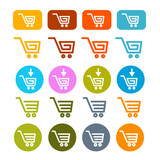 Shopping Cart, Basket, Web Symbols, Icons Set