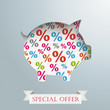 Piggy Bank Percents Silver Background
