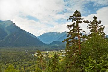 Mountain valley. View of the village Arhiz bird's-eye view. Kara
