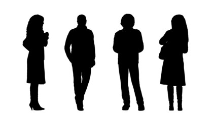 people standing outdoor silhouettes set 4