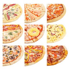 Set of sliced pizza