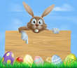 Wooden sign Easter bunny and eggs