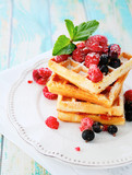 ruddy waffles with berries