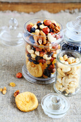 mix nuts in a large jar