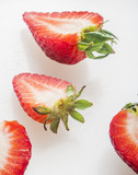 strawberry cut on white background