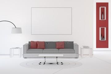 CAD Modell von Wohnzimmer mit Sofa und Kissen