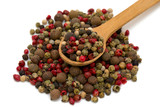 Peppercorn mix in a wooden spoon