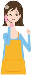 女性 エプロン 電話 説明