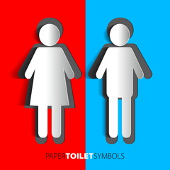 Paper toilet symbols - restroom with man and woman silhouette