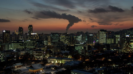 Seoul City Gwanghwamun Sunset