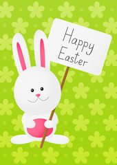Easter rabbit on green background