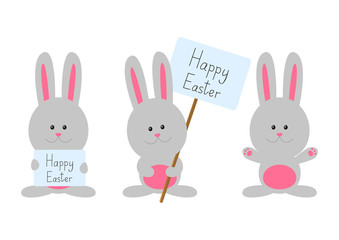 Easter rabbits isolated on white
