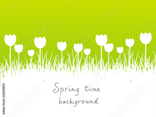 Green spring background with place for text