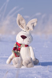 Winter background with rabbit and snow