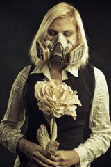 Post-apocalyptic girl with flower