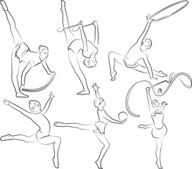 rhythmic gymnastics - outlines set