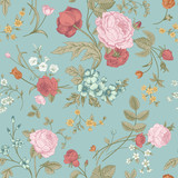 Fototapety Seamless vector classic pattern with Victorian bouquet