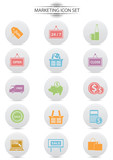 Marketing icons,Colorful version,vector