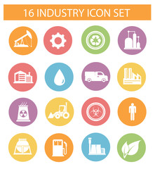 Industry icons on white background