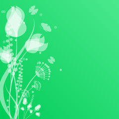 flowers and butterflies on a green background .floral design.vec