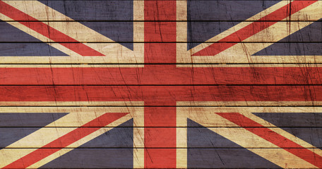 Grunge England Flag on wooden texture
