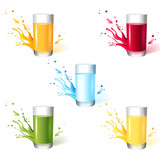 5 glasses with different drinks