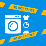 do not cross the line crossing a washing machine