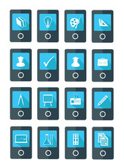 Mobile Education icons,Blue version,vector