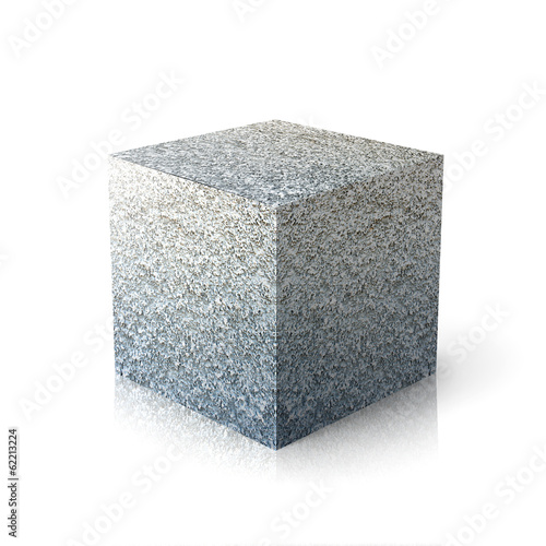 Massive stone element over white background.