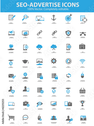 Seo - Advertise Icons,Blue version