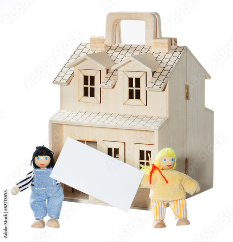 Mortgage concept. Wooden house with family isolated. With card f