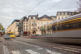 Tramway in motion on the street of Brussels near The Sablon Squa