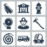 Vector fire station icons set