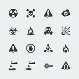 Vector hazard and danger mini icons set