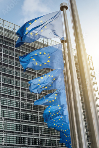 Fototapeta European Union flags in front of the Berlaymont building (Europe